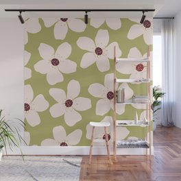 Large spring flowers on a green background Wall Mural