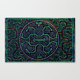Song to protect the home - Traditional Shipibo Art - Indigenous Ayahuasca Patterns Canvas Print