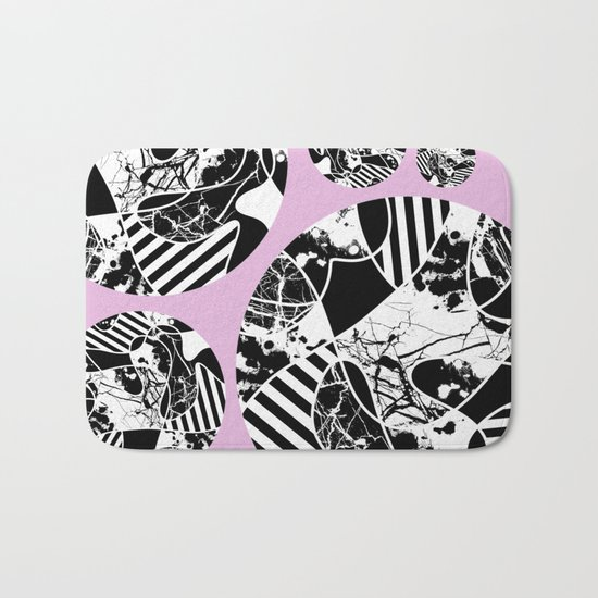 Black And White Bubbles 2 - Multi patterned, multi textured stripes, paint splats and marble on pink Bath Mat