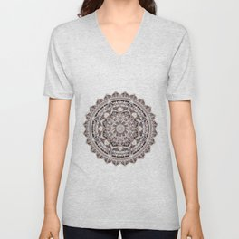 Copper Geo-Circle White Background  Unisex V-Neck