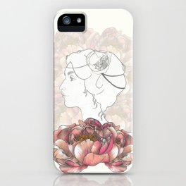 Portrait & Peonies yellow iPhone Case