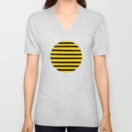 Black Yellow Vintage Stripes Pattern Unisex V-Neck