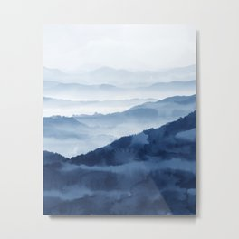 Blue Mountain 2, Abstract Watercolor Art Print By Synplus Metal Print