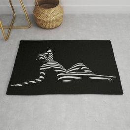 0381-PDJ Zebra Striped Black White Nude Reclining Rug