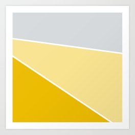 Diagonal Color Block in Yellows and Gray Art Print