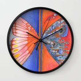 Butterfly / Mushroom in Bright Orange and Blue Combo Wall Clock
