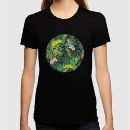 Chameleons And Salamanders In The Jungle Pattern T-shirt