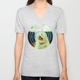 hairy havanese dog vector art Unisex V-Neck