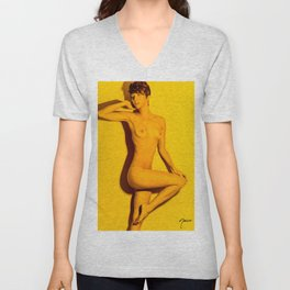 5760 Natasha Au Naturel - Boudoir Eros Studio Beauty Nude Unisex V-Neck