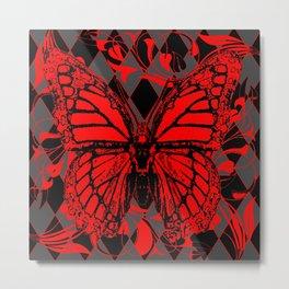 RED MONARCH BUTTERFLIES  ON BLACK-GREY HARLEQUIN ART Metal Print