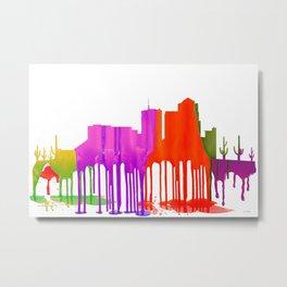 Tucson, Arizona Skyline - Puddles Metal Print
