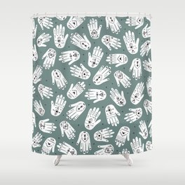 Indian summer eye bohemian hamsa hand of fatima pattern mint teal gray Shower Curtain