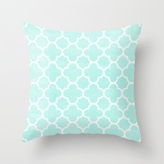 MOROCCAN {TEAL & WHITE 2} Throw Pillow