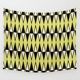 Mid Century Modern Diamond Pattern Black Chartreuse 231 Wall Tapestry