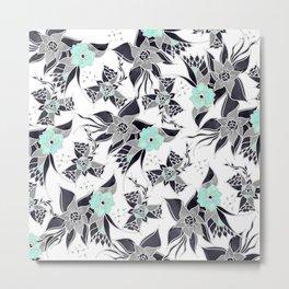 Modern spring grey mint green watercolor floral illustration pattern Metal Print