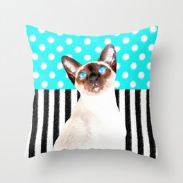 Siamese Cat Polka Teal Throw Pillow