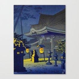 Japanese Woodblock Print Vintage Asian Art Colorful Woodblock Prints Shrine At Night Lantern Canvas Print