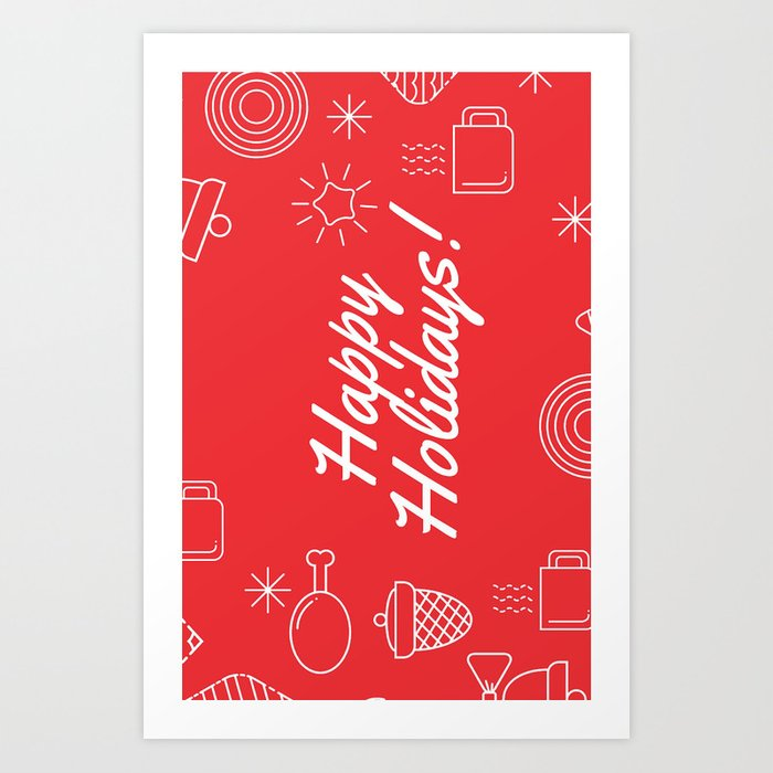 photograph about Happy Holidays Printable Card identified as Family vacation Greeting Card - Pleased Holiday seasons Card - Xmas Card Artwork Print by way of lapeemesange