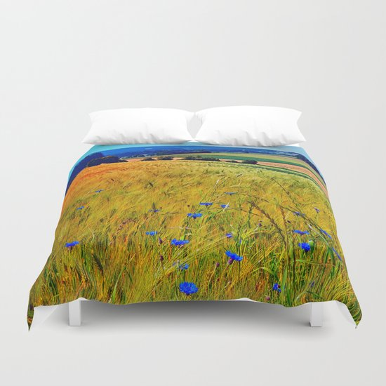 Fields of summer with flowers and scenery Duvet Cover