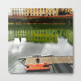 Rowing at River Arno Metal Print