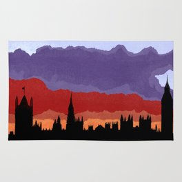London Skyline sunset torn paper and pen  Rug