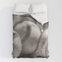 3 Baseballs on a Bucket in Sepia Comforters