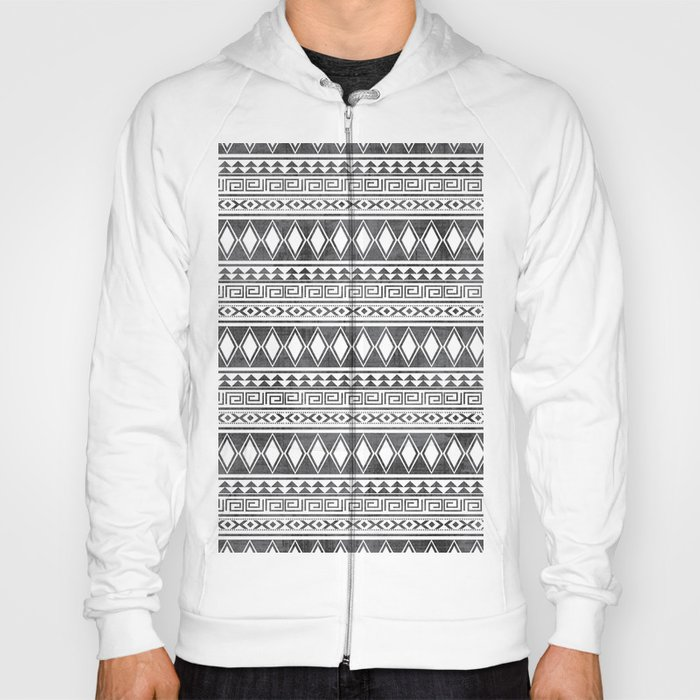 Tribal All Over Print Black and White Hoody by mandic