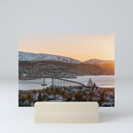 Sunset at Tromsø, Norway || Travel photography mountain architecture lapland winter scandinavia  Mini Art Print