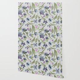 Falling flowers: purple Wallpaper