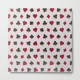 Suit (Card) Pattern -  Red & Black Spades, Hearts, Diamonds and Clubs Metal Print