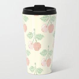Cherry Cross Stitch Pattern on yellow Travel Mug