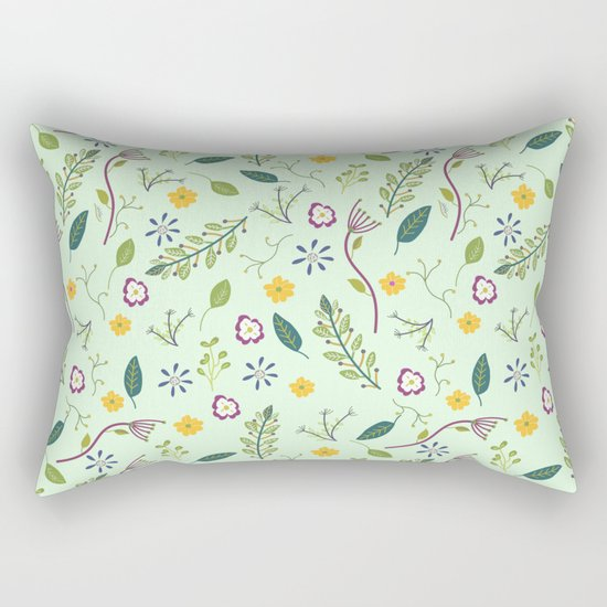 Floral Greenery Pattern I Rectangular Pillow