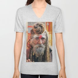 Baba, Rishikesh, India Unisex V-Neck