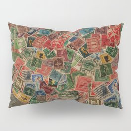 Vintage Postage Stamps Collection Pillow Sham