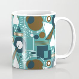 Abstract Geometric Shapes - Teal, Navy, Brown, White Coffee Mug