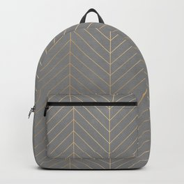 Gold & Grey Chevron Backpack