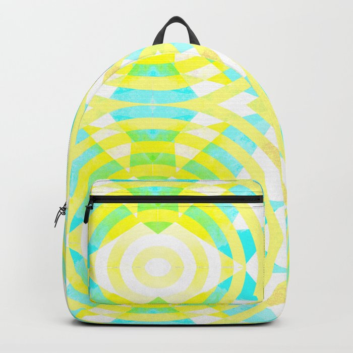 Funky geometry in yellow and blue Backpack