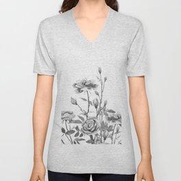 black and white roses Unisex V-Neck
