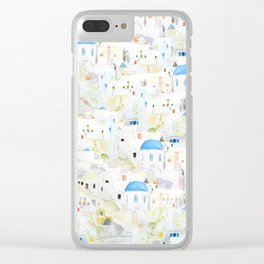 watercolor Santoroni pattern Clear iPhone Case