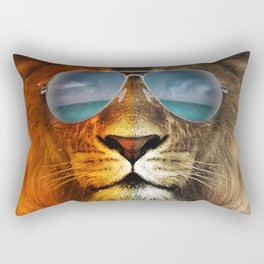 Cool Lion Face Rectangular Pillow