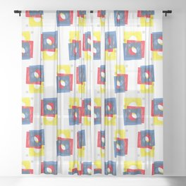 Basic in red, yellow and blue Sheer Curtain
