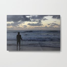 Man And Waves Metal Print