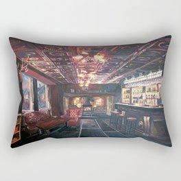 Romantic Night at Rustic Fireside Bar Scene with Village Street View Rectangular Pillow