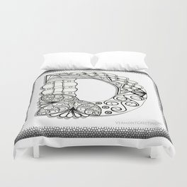 Zentangle D Monogram Alphabet Illustration Duvet Cover