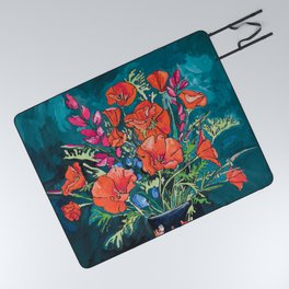 California Poppy and Wildflower Bouquet on Emerald with Tigers Still Life Painting Picnic Blanket