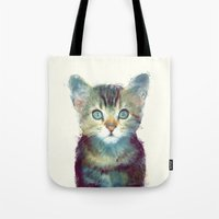 kittens Tote Bags featuring Cat // Aware by Amy Hamilton