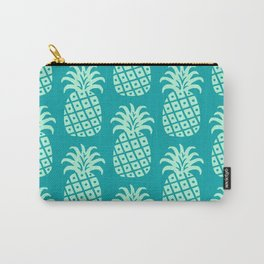 Retro Mid Century Modern Pineapple Pattern Mint Green and Teal 2 Carry-All Pouch