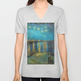 Starry Night Over the Rhone River by Vincent van Gogh Unisex V-Neck