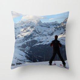 Thoughtful Skiier Throw Pillow