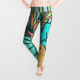 Tropical leaves blue Leggings